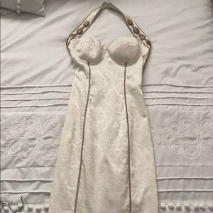 Cream fitted halter dress